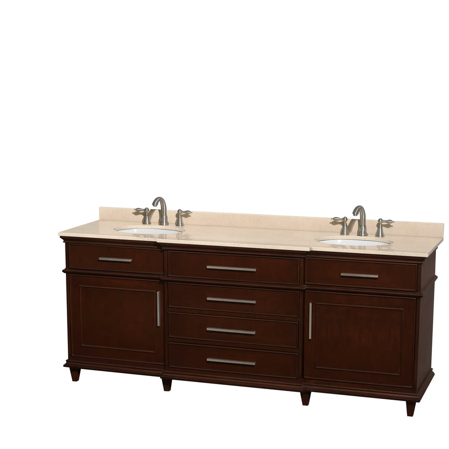 Wyndham Collection Berkeley Dark Chestnut Undermount Double Sink Bathroom Vanity with Natural Marble Top (Common: 80-in x 23-in; Actual: 80-in x 22.5-in)