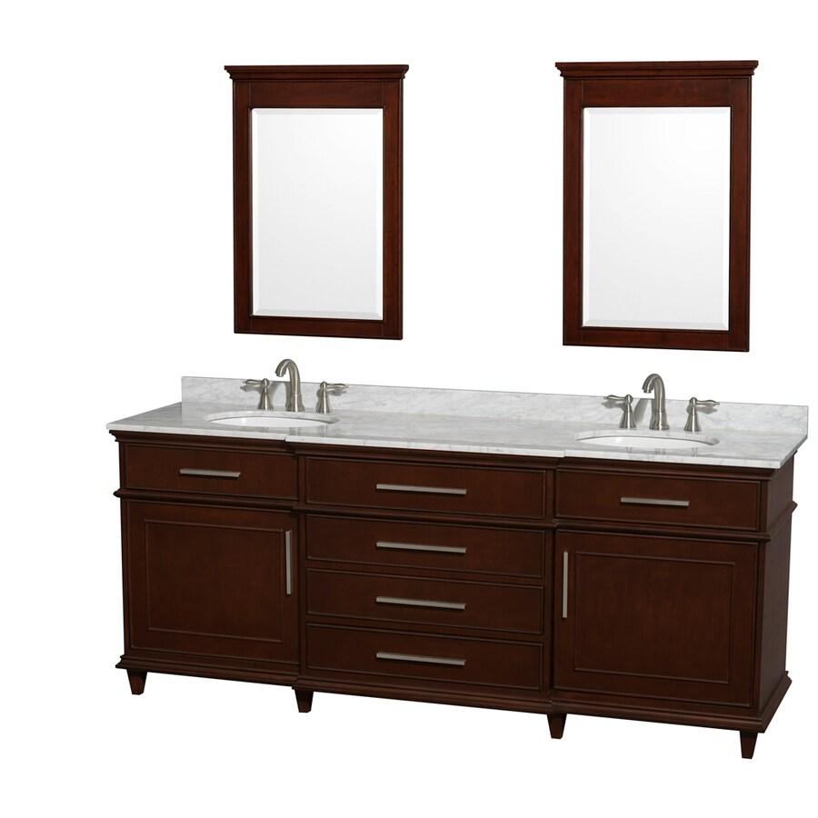 Wyndham Collection Berkeley Dark Chestnut Undermount Double Sink Bathroom Vanity with Natural Marble Top (Common: 80-in x 23-in; Actual: 80-in x 22.5-in)