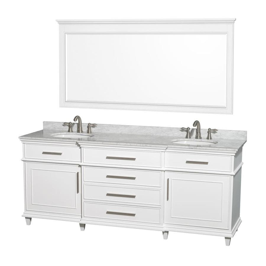 Wyndham Collection Berkeley White (Common: 80-in x 22.5-in) Undermount Double Sink Birch Bathroom Vanity with Natural Marble Top (Mirror Included) (Actual: 80-in x 22.5-in)