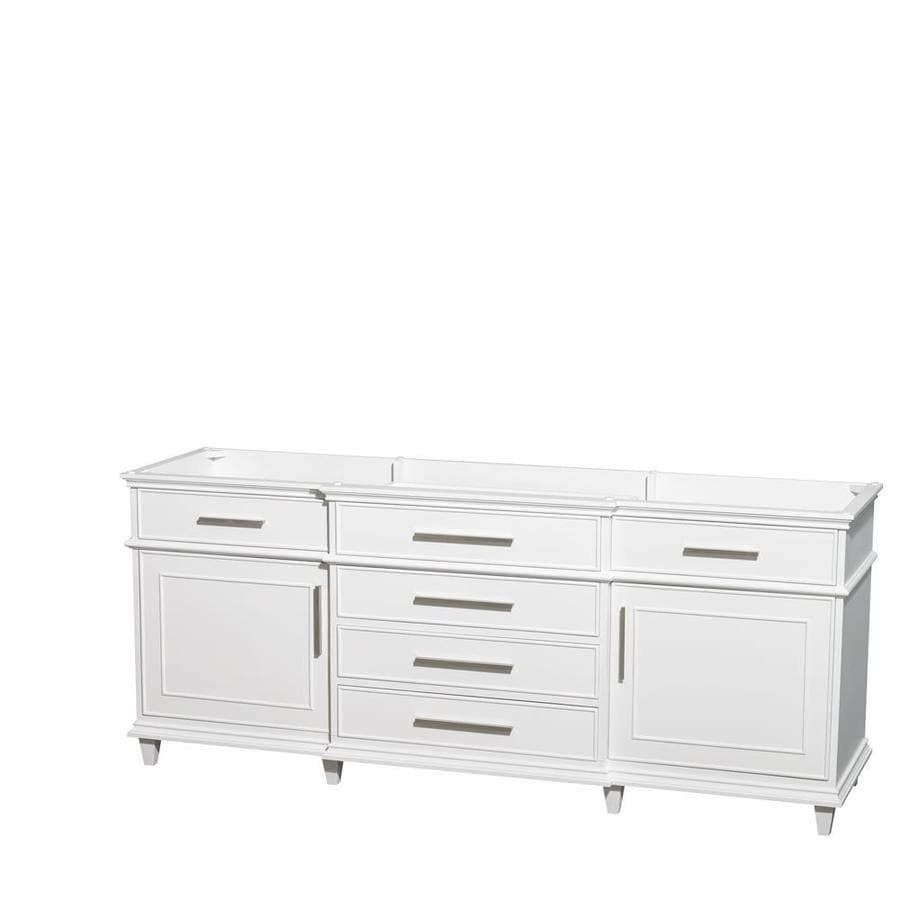 Wyndham Collection Berkeley White Bathroom Vanity (Common: 80-in x 22-in; Actual: 79-in x 22-in)