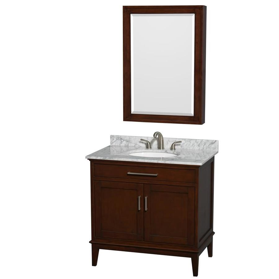 Wyndham Collection Hatton Dark Chestnut 36-in Undermount Single Sink Birch Bathroom Vanity with Natural Marble Top (Mirror Included)