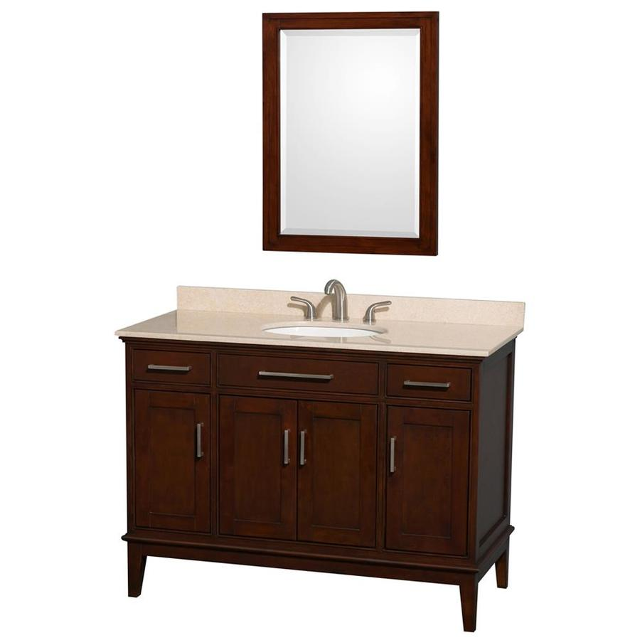 Shop wyndham collection hatton dark chestnut undermount for Dark vanity bathroom