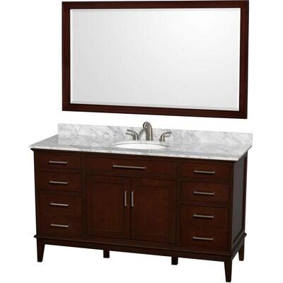 Hatton 60 In Dark Chestnut Single Sink Bathroom Vanity With White Carrera Natural Marble Top