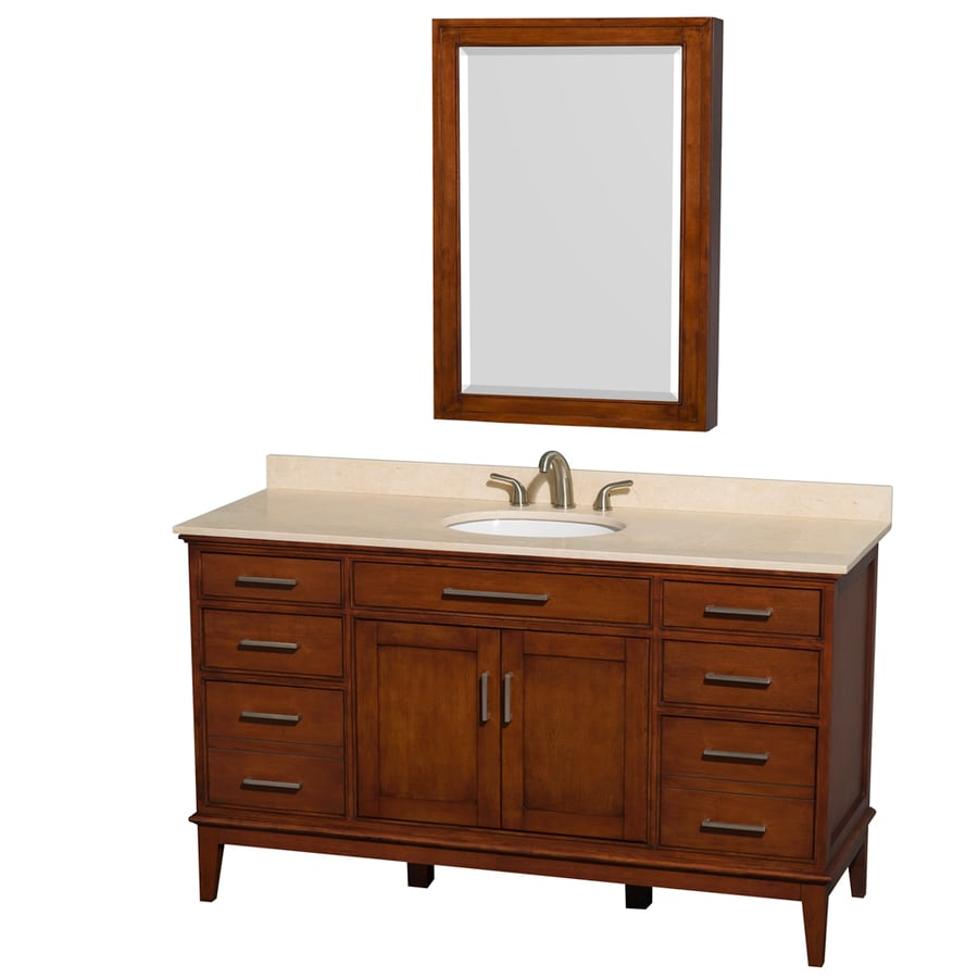 Lowes Single Vanity Lights : Shop Wyndham Collection Hatton Light Chestnut Undermount Single Sink Bathroom Vanity with ...