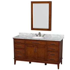 Wyndham Collection Hatton Light Chestnut Single Sink Vanity With White  Carrera Natural Marble Top (Common