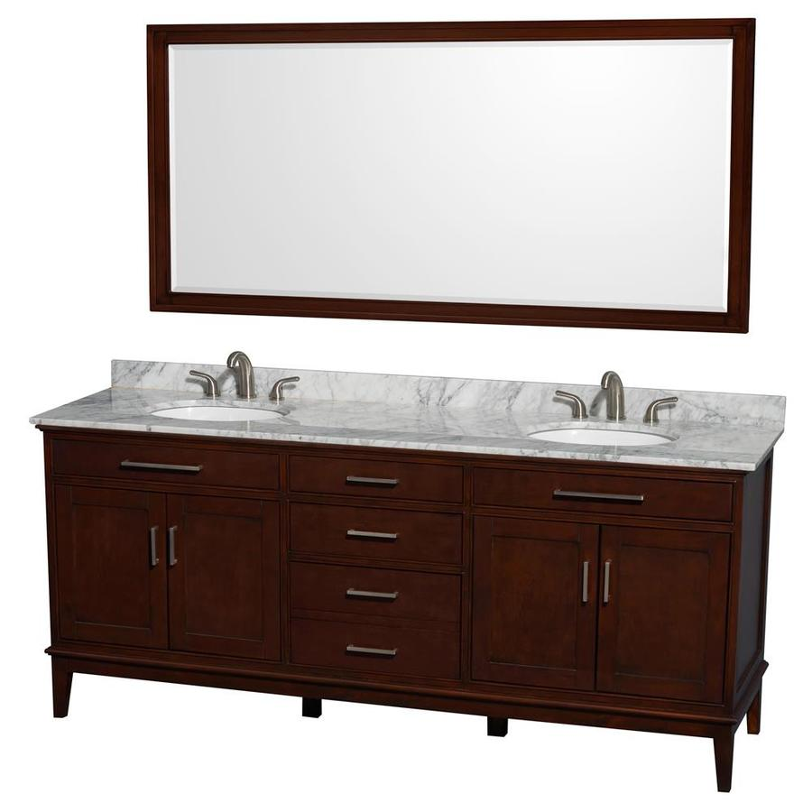 Wyndham Collection Hatton Dark Chestnut 80-in Undermount Double Sink Birch Bathroom Vanity with Natural Marble Top (Mirror Included)