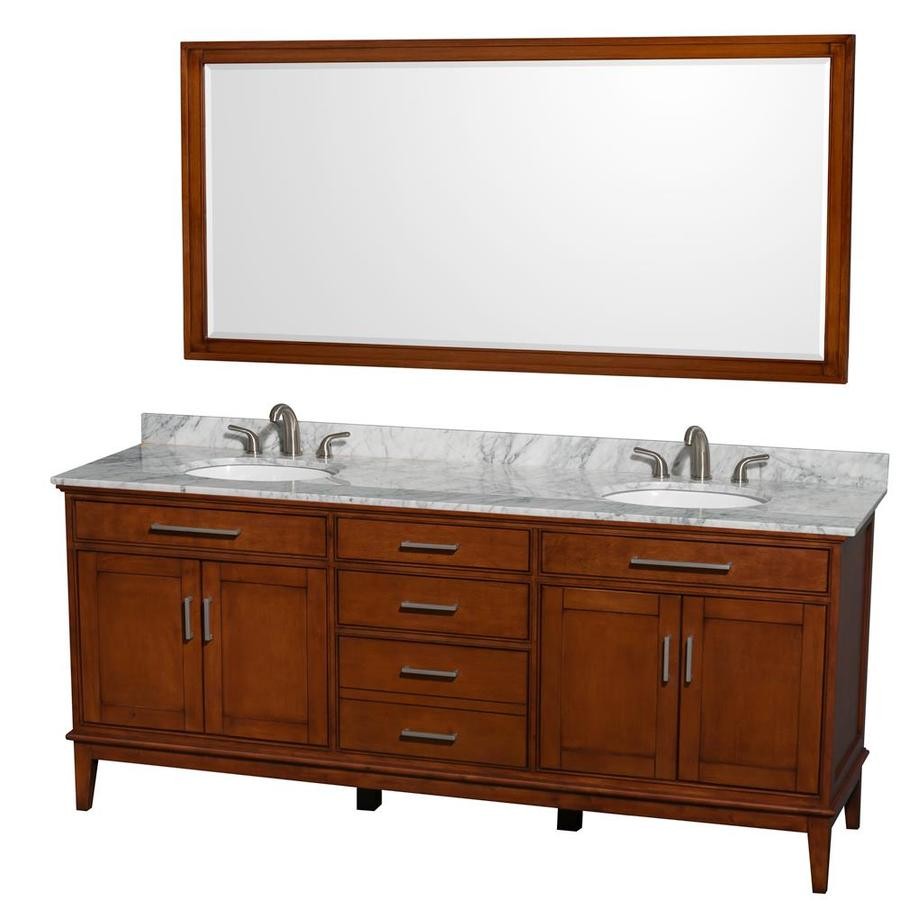 Wyndham Collection Hatton Light Chestnut Undermount Double Sink Bathroom Vanity with Natural Marble Top (Common: 80-in x 22-in; Actual: 80-in x 22-in)