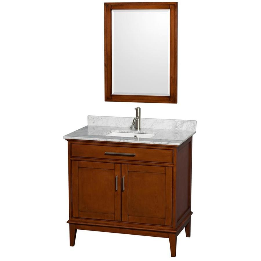 Wyndham Collection Hatton Light Chestnut 36-in Undermount Single Sink Birch Bathroom Vanity with Natural Marble Top (Mirror Included)
