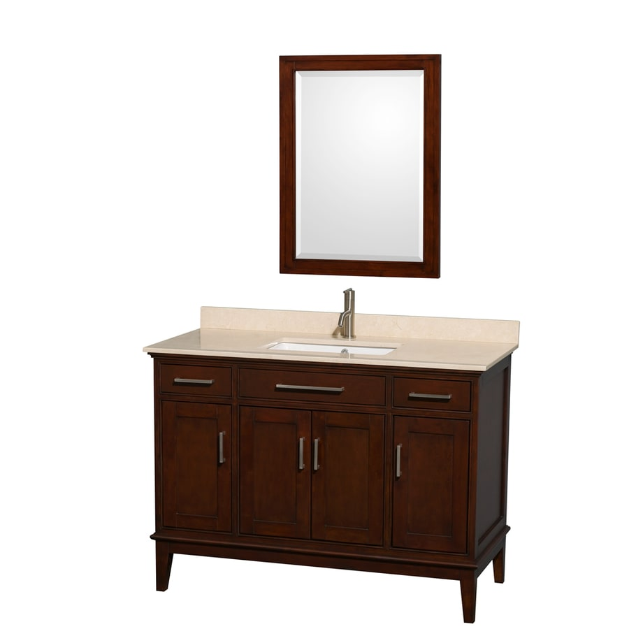 Wyndham Collection Hatton Dark Chestnut 48-in Undermount Single Sink Birch Bathroom Vanity with Natural Marble Top (Mirror Included)