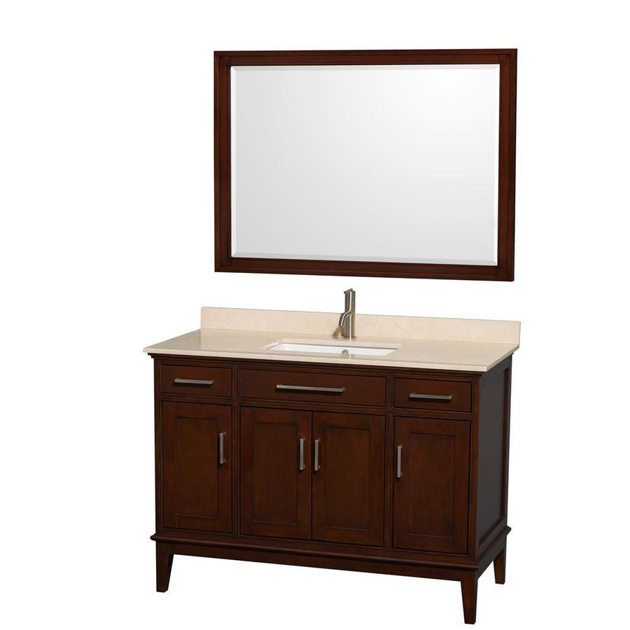 Wyndham Collection Hatton Dark Chestnut 48-in Undermount Single Sink Birch Bathroom Vanity with Natural Marble Top (Mirror Included)