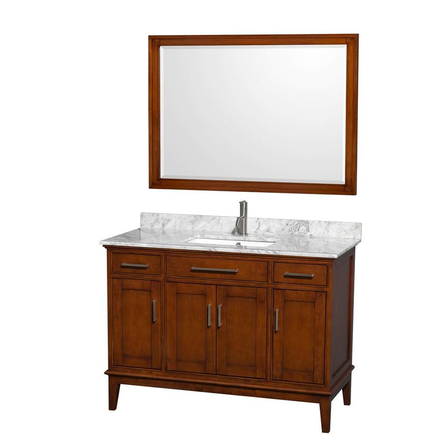 Wyndham Collection Hatton Light Chestnut 48-in Undermount Single Sink Birch Bathroom Vanity with Natural Marble Top (Mirror Included)