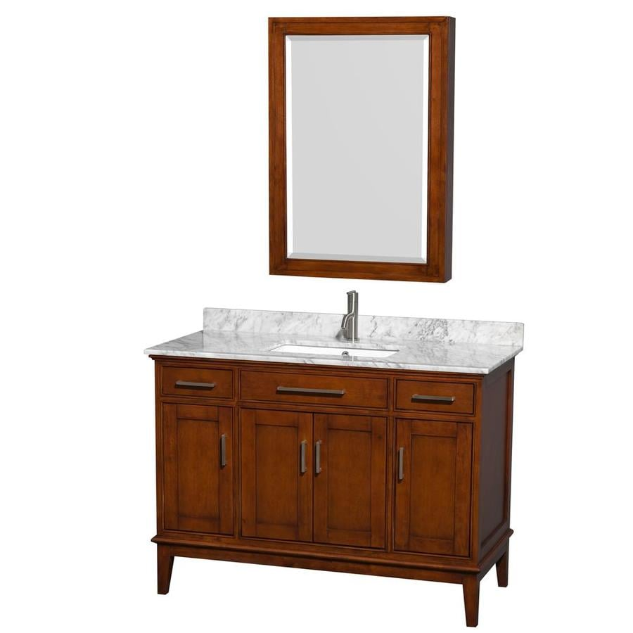 Wyndham Collection Hatton Light Chestnut Undermount Single Sink Bathroom Vanity with Natural Marble Top (Common: 48-in x 22-in; Actual: 48-in x 22-in)