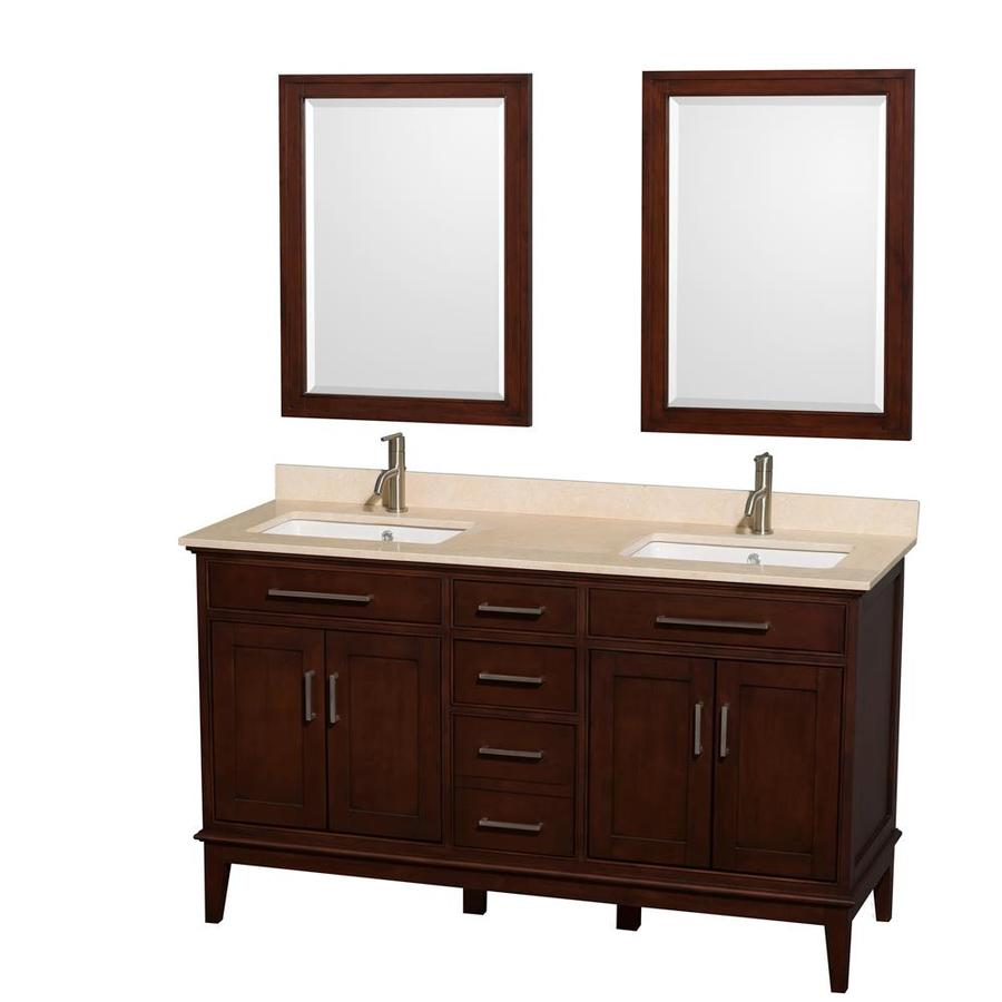 Wyndham Collection Hatton Dark Chestnut 60-in Undermount Double Sink Birch Bathroom Vanity with Natural Marble Top (Mirror Included)