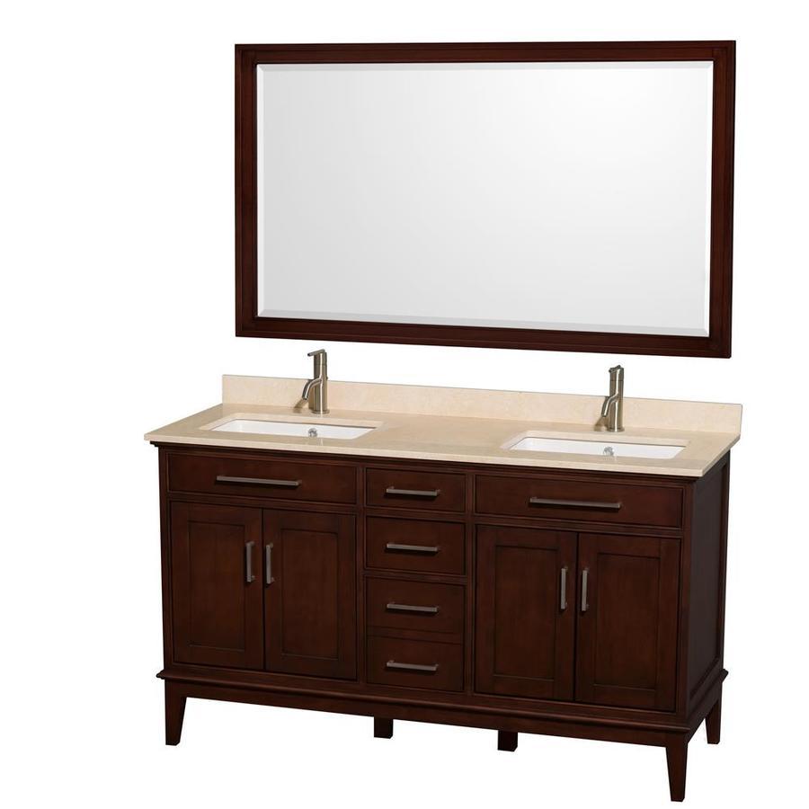 Wyndham Collection Hatton Dark Chestnut 60-in Undermount Double Sink Birch Bathroom Vanity with Natural Marble Top (Mirror Included)
