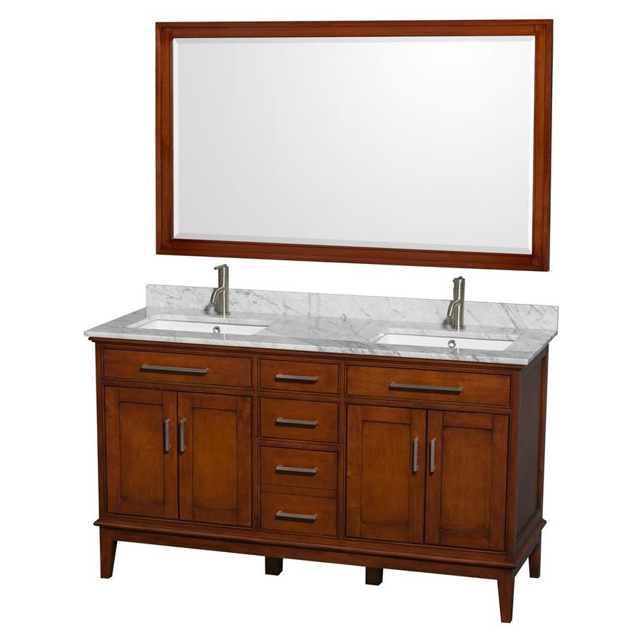 Wyndham Collection Hatton Light Chestnut (Common: 60-in x 22-in) Undermount Double Sink Birch Bathroom Vanity with Natural Marble Top (Mirror Included) (Actual: 60-in x 22-in)