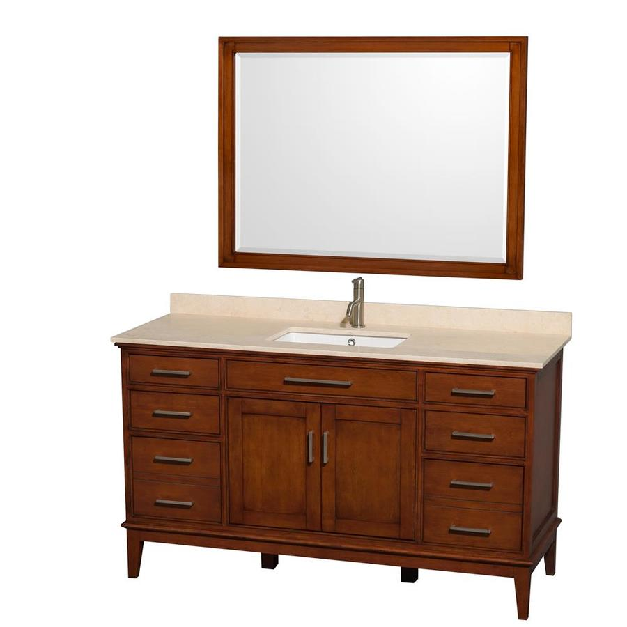Wyndham Collection Hatton Light Chestnut Undermount Single Sink Bathroom Vanity with Natural Marble Top (Common: 60-in x 22-in; Actual: 60-in x 22-in)