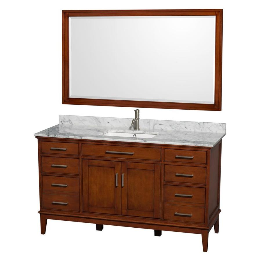 shop wyndham collection hatton light chestnut 60 in undermount single sink birch bathroom vanity. Black Bedroom Furniture Sets. Home Design Ideas