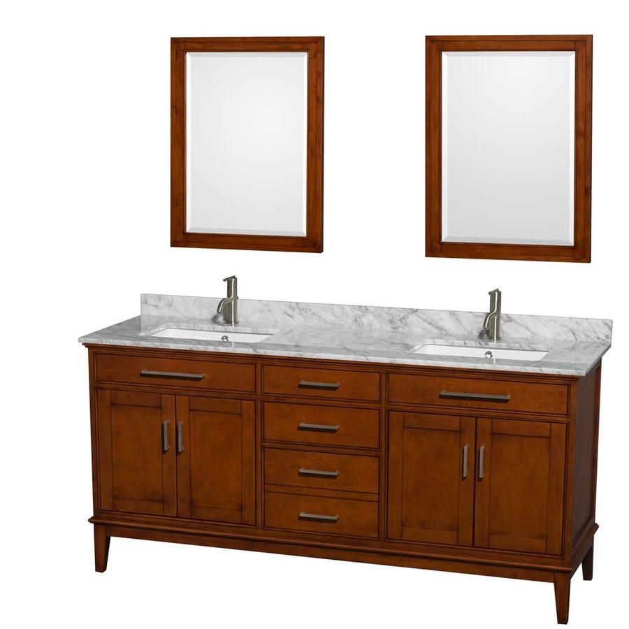 Wyndham Collection Hatton Light Chestnut 72-in Undermount Double Sink Birch Bathroom Vanity with Natural Marble Top (Mirror Included)