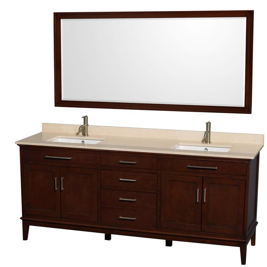 Wyndham Collection Hatton Dark Chestnut Undermount Double Sink Bathroom Vanity with Natural Marble Top (Common: 80-in x 22-in; Actual: 80-in x 22-in)