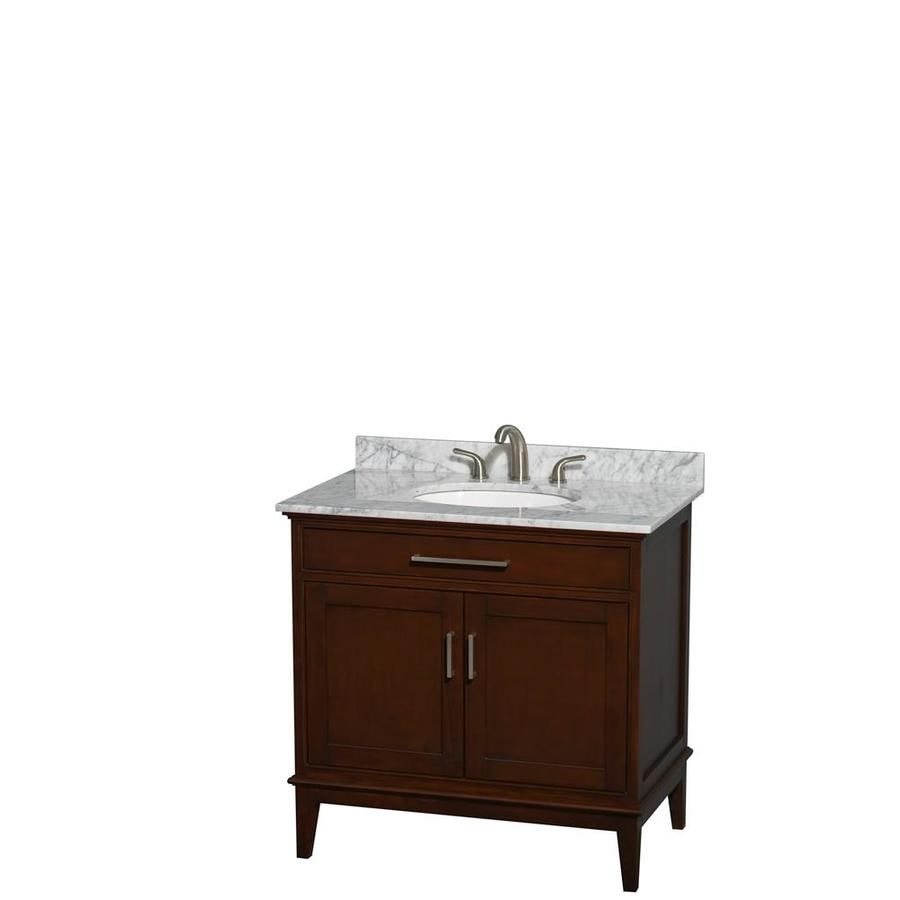 Wyndham Collection Hatton Dark Chestnut Undermount Single Sink Bathroom Vanity with Natural Marble Top (Common: 36-in x 22-in; Actual: 36-in x 22-in)