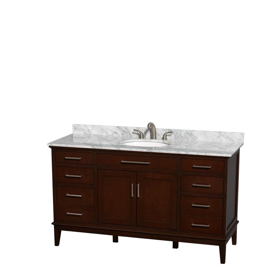 Wyndham Collection Hatton Dark Chestnut Undermount Single Sink Bathroom Vanity with Natural Marble Top (Common: 60-in x 22-in; Actual: 60-in x 22-in)