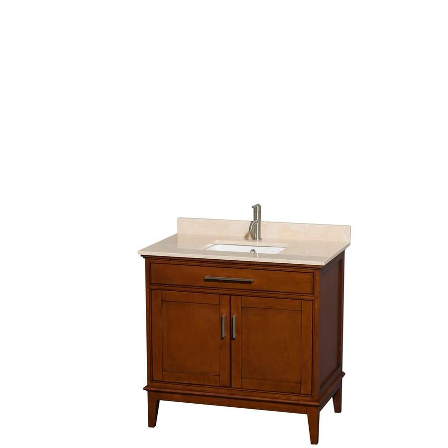 Wyndham Collection Hatton Light Chestnut Undermount Single Sink Bathroom Vanity with Natural Marble Top (Common: 36-in x 22-in; Actual: 36-in x 22-in)