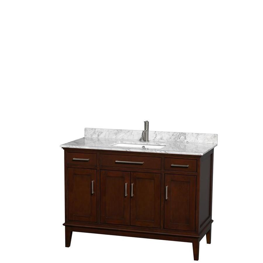 Wyndham Collection Hatton Dark Chestnut 48-in Undermount Single Sink Birch Bathroom Vanity with Natural Marble Top