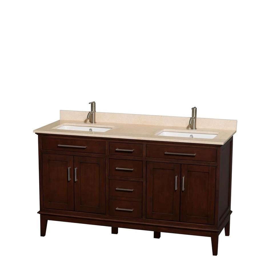 Wyndham Collection Hatton Dark Chestnut Undermount Double Sink Bathroom Vanity with Natural Marble Top (Common: 60-in x 22-in; Actual: 60-in x 22-in)