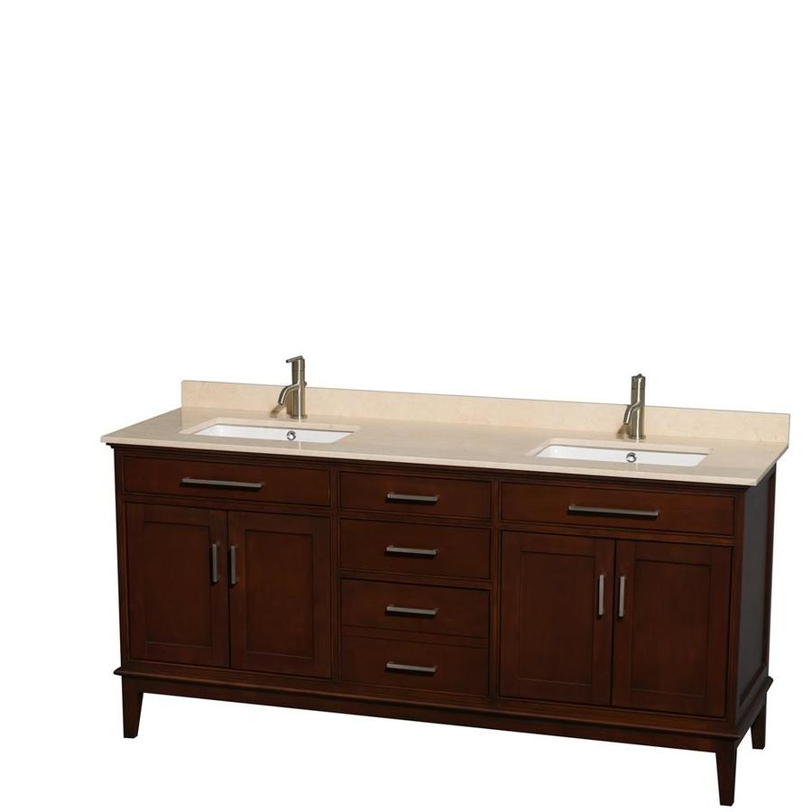 Wyndham Collection Hatton Dark Chestnut Undermount Double Sink Bathroom Vanity with Natural Marble Top (Common: 72-in x 22-in; Actual: 72-in x 22-in)