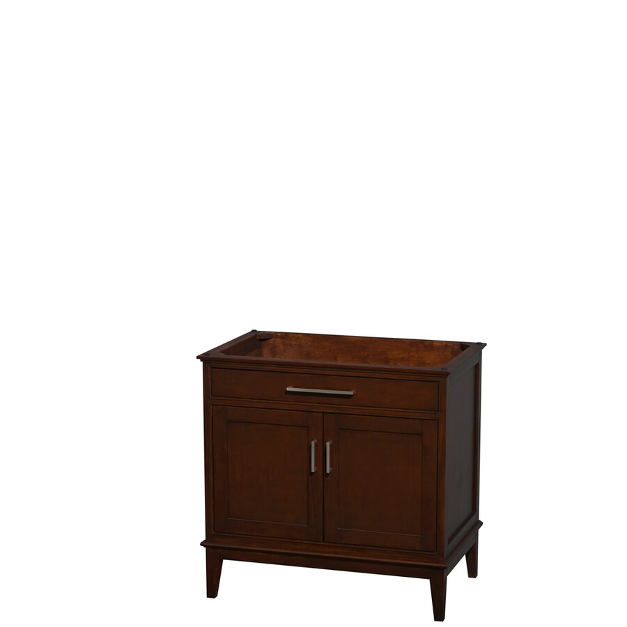 Wyndham Collection Hatton Dark Chestnut 35-in Transitional Bathroom Vanity