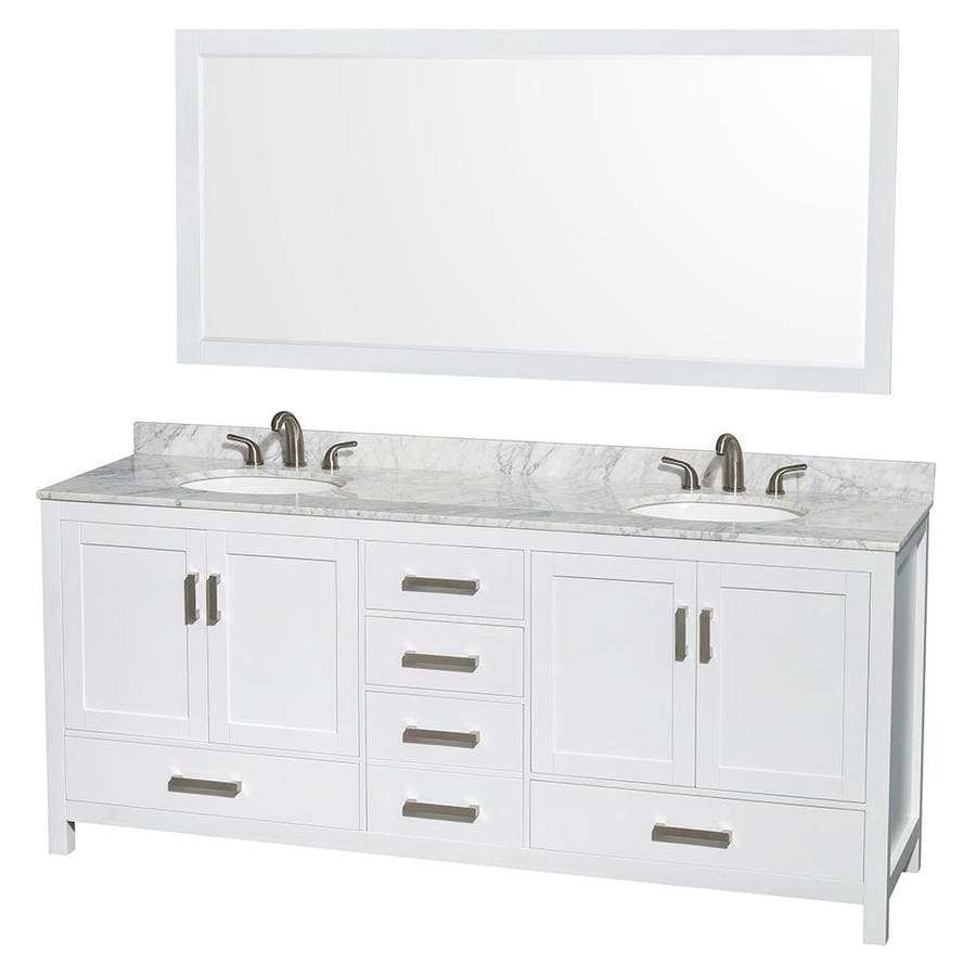 Double Bathroom Vanity Measurements shop wyndham collection sheffield white undermount double sink
