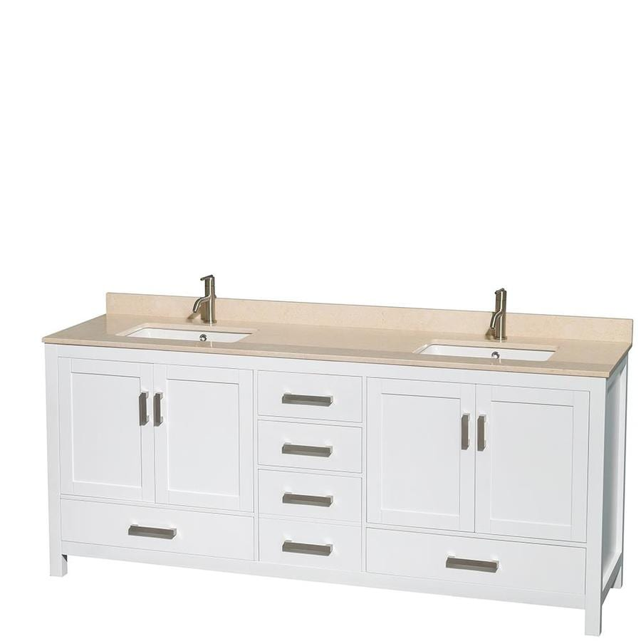 Wyndham Collection Sheffield White Undermount Double Sink Bathroom Vanity with Natural Marble Top (Common: 80-in x 22-in; Actual: 80-in x 22-in)