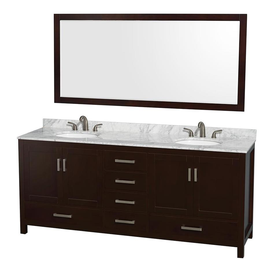 Wyndham Collection Sheffield Espresso Undermount Double Sink Bathroom Vanity with Natural Marble Top (Common: 80-in x 22-in; Actual: 80-in x 22-in)
