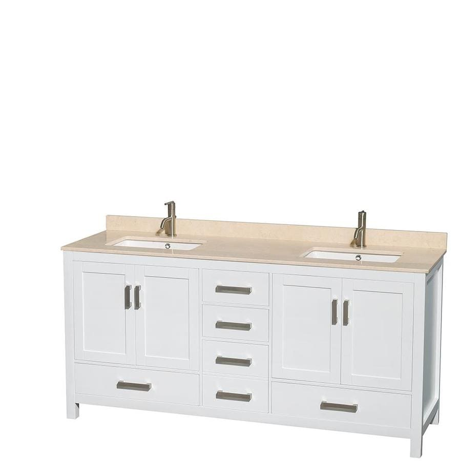 Wyndham Collection Sheffield White 72-in Undermount Double Sink Birch Bathroom Vanity with Natural Marble Top