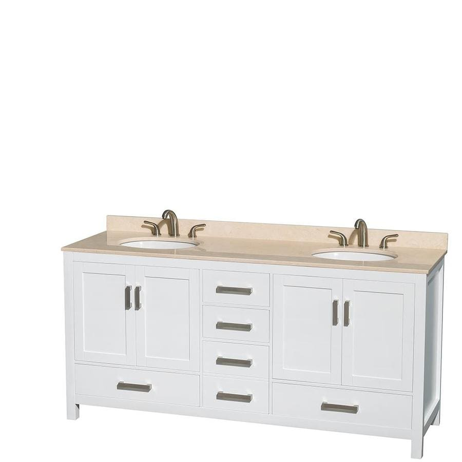 Wyndham Collection Sheffield White Undermount Double Sink Bathroom Vanity with Natural Marble Top (Common: 72-in x 22-in; Actual: 72-in x 22-in)
