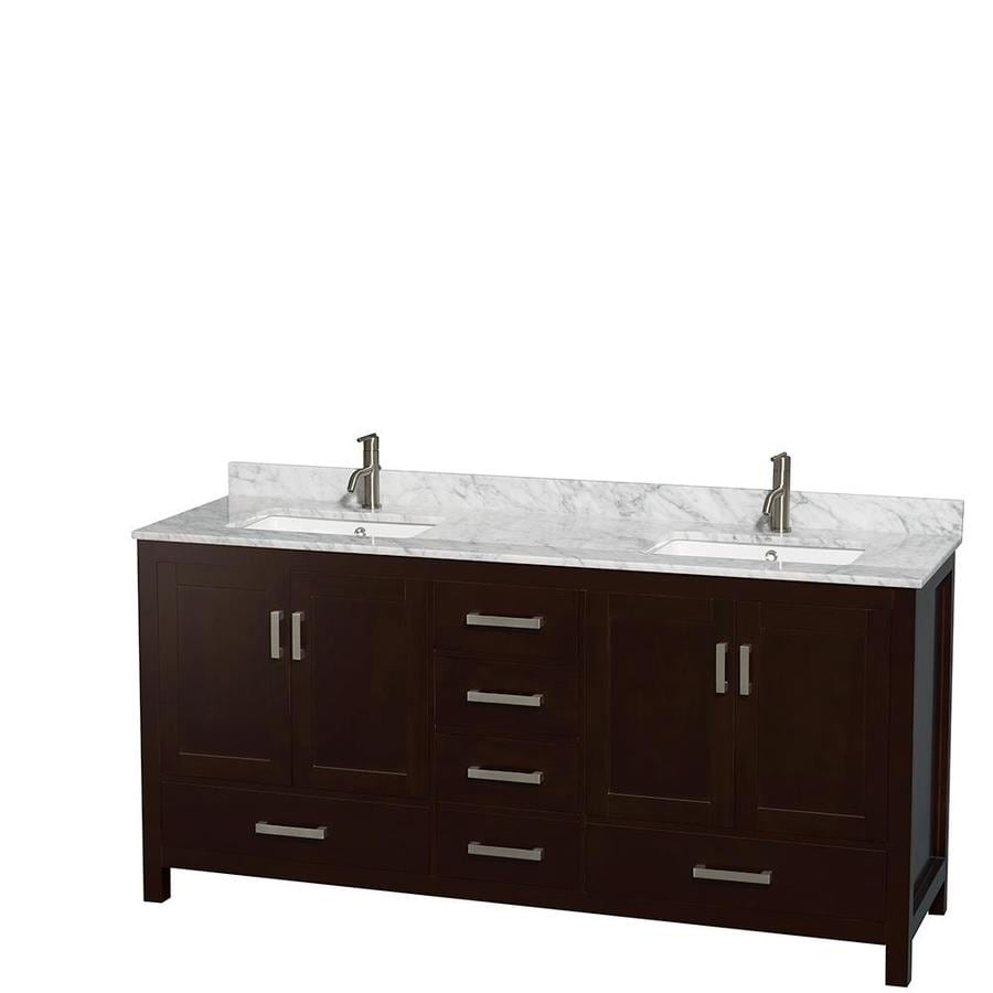 Shop wyndham collection sheffield espresso undermount for 72 bathroom vanity without top