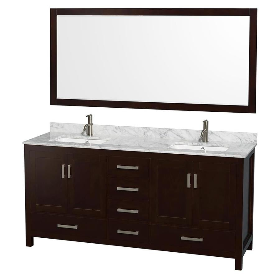 Wyndham Collection Sheffield Espresso 72-in Undermount Double Sink Birch Bathroom Vanity with Natural Marble Top (Mirror Included)