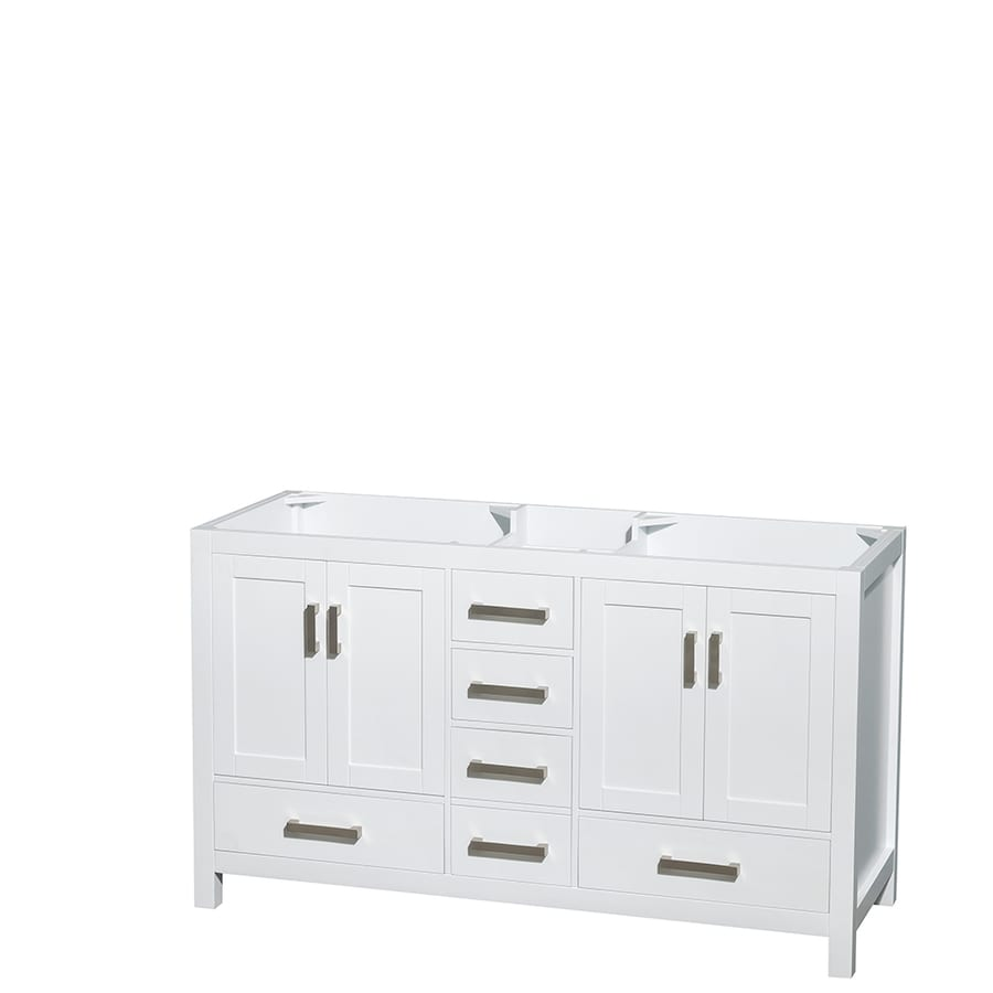 Wyndham Collection Sheffield White 59-in Transitional Bathroom Vanity