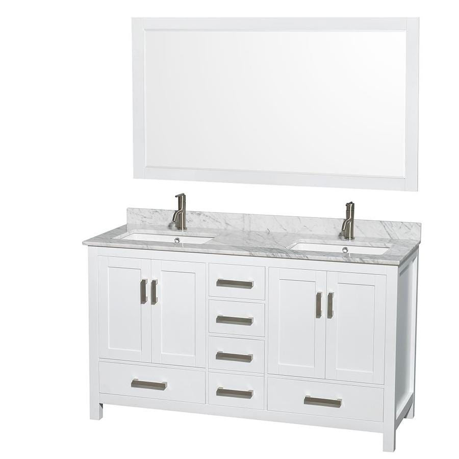 Shop Wyndham Collection Sheffield White Undermount Double Sink Bathroom Vanity With Natural