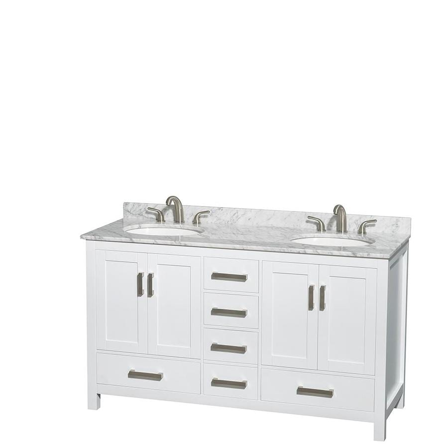 Wyndham Collection Sheffield White Undermount Double Sink Bathroom Vanity with Natural Marble Top (Common: 60-in x 22-in; Actual: 60-in x 22-in)