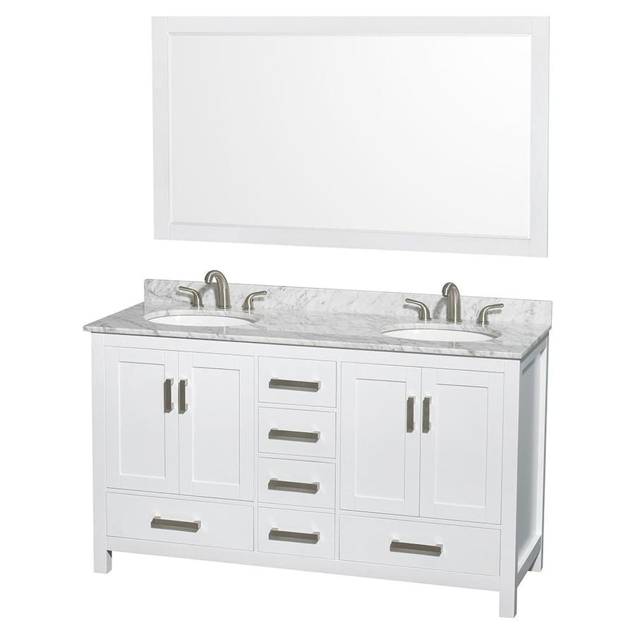 Shop Wyndham Collection Sheffield White Undermount Double Sink Bathroom Vanit