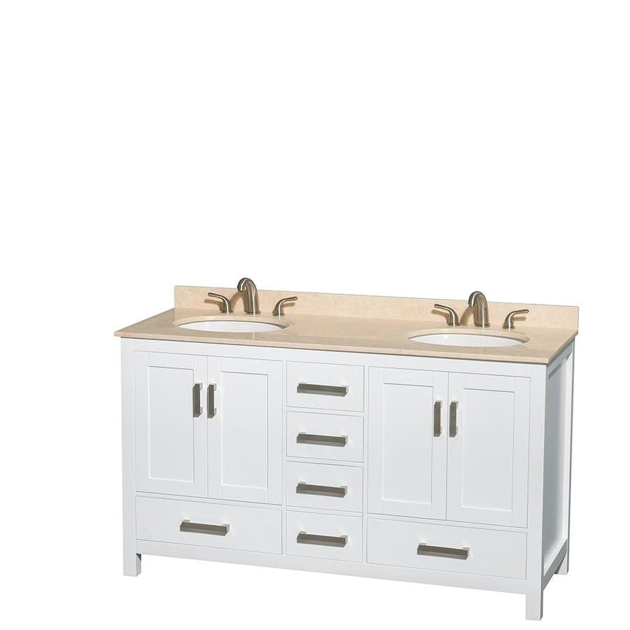 Wyndham Collection Sheffield White 60-in Undermount Double Sink Birch Bathroom Vanity with Natural Marble Top
