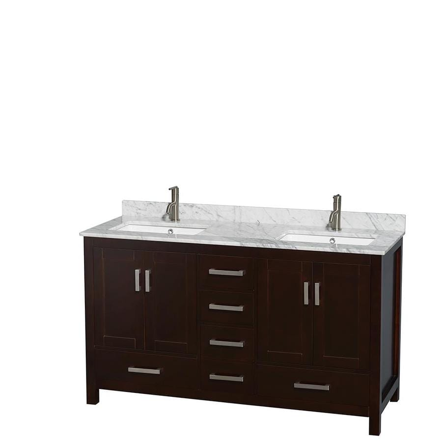 Wyndham Collection Sheffield Espresso (Common: 60-in x 22-in) Undermount Double Sink Birch Bathroom Vanity with Natural Marble Top (Actual: 60-in x 22-in)