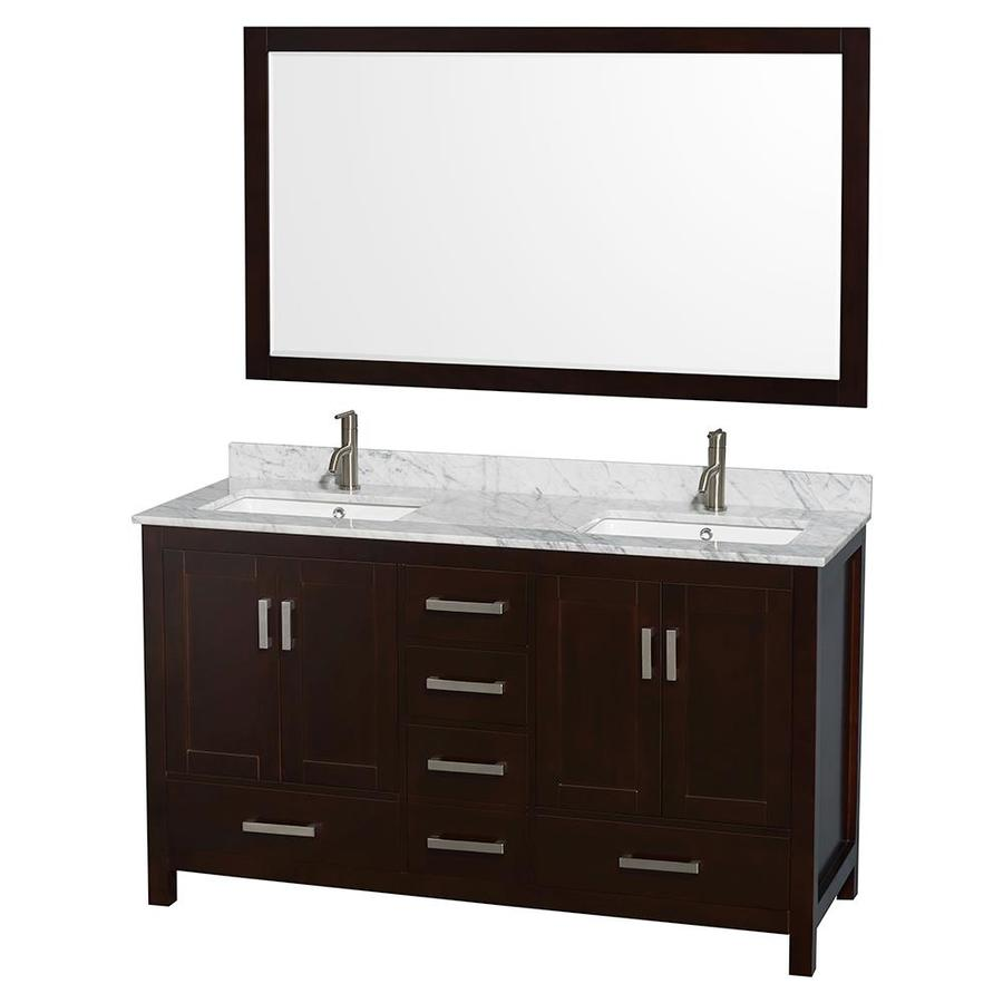 Wyndham Collection Sheffield Espresso Undermount Double Sink Bathroom Vanity  With Natural Marble Top (Common: