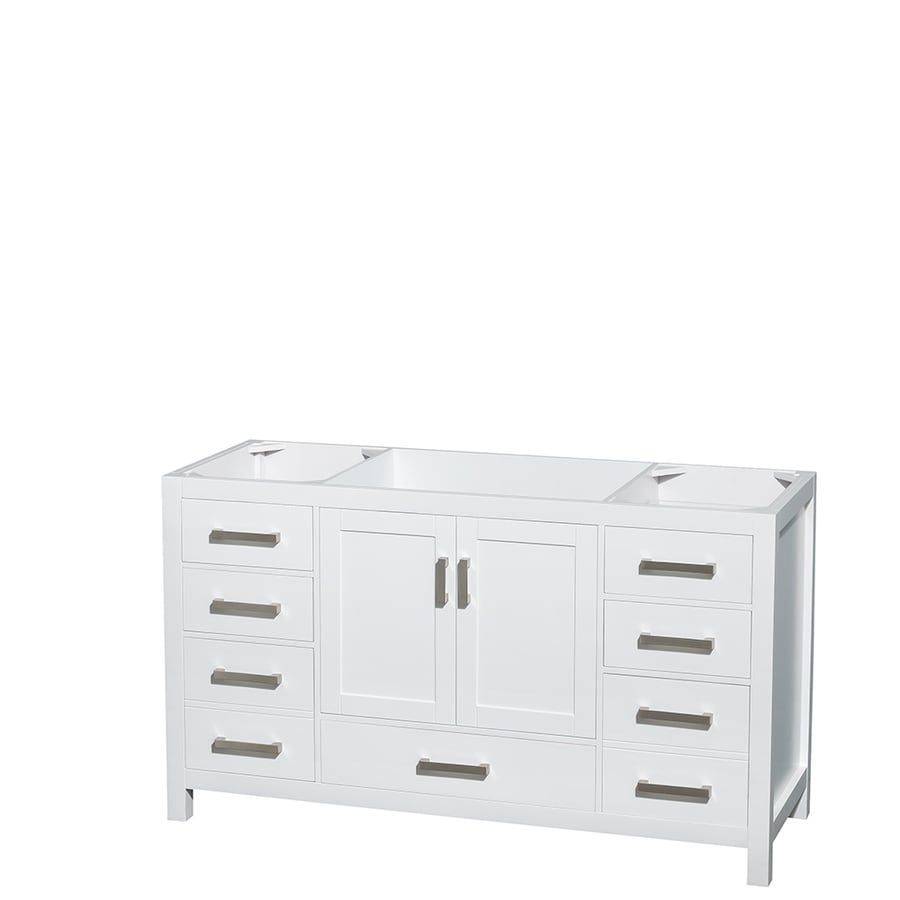 Wyndham Collection Sheffield White Bathroom Vanity (Common: 60-in x 22-in; Actual: 59-in x 21.5-in)