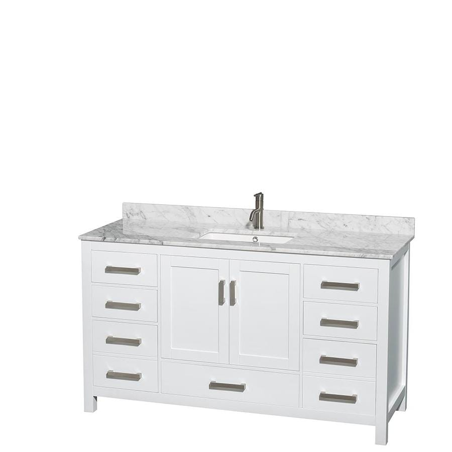 Wyndham Collection Sheffield White Undermount Single Sink Bathroom Vanity with Natural Marble Top (Common: 60-in x 22-in; Actual: 60-in x 22-in)