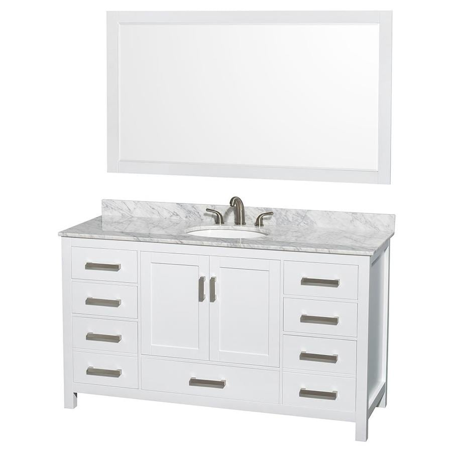 Wyndham Collection Sheffield White 60-in Undermount Single Sink Birch Bathroom Vanity with Natural Marble Top (Mirror Included)