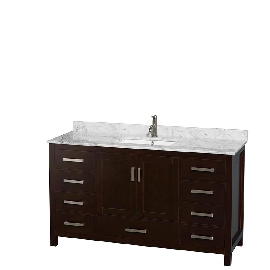 Wyndham Collection Sheffield Espresso Undermount Single Sink Bathroom Vanity with Natural Marble Top (Common: 60-in x 22-in; Actual: 60-in x 22-in)