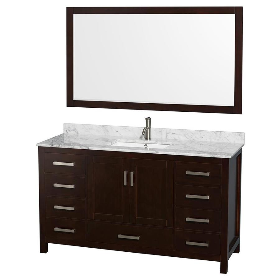 Wyndham Collection Sheffield Espresso (Common: 60-in x 22-in) Undermount Single Sink Birch Bathroom Vanity with Natural Marble Top (Mirror Included) (Actual: 60-in x 22-in)