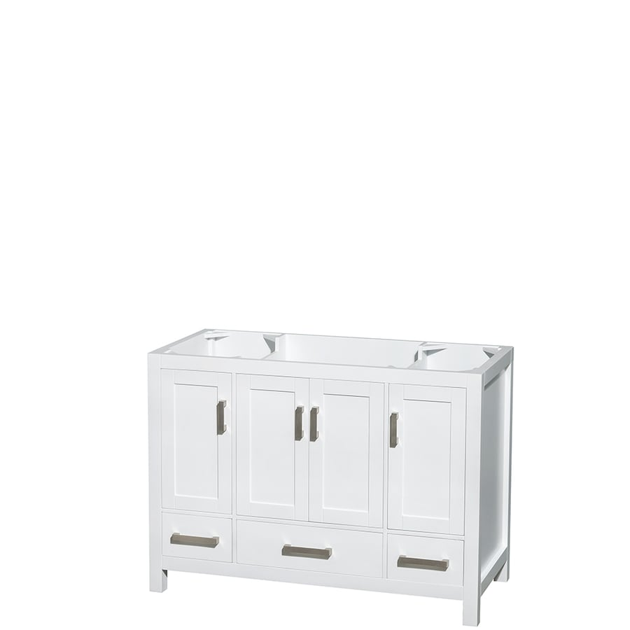 Wyndham Collection Sheffield White (Common: 48-in x 22-in) Transitional Bathroom Vanity (Actual: 47-in x 21.5-in)